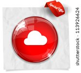 vector glossy red round button... | Shutterstock .eps vector #113926624