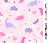 cute pastel dinosaurs. vector... | Shutterstock .eps vector #1139268896