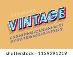 retro original 3d display font... | Shutterstock .eps vector #1139291219