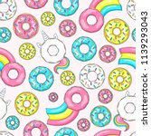 donut unicorn with white  glaze ... | Shutterstock .eps vector #1139293043