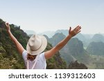young woman tourist enjoying... | Shutterstock . vector #1139312603