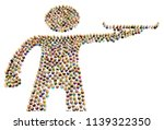 crowd of small symbolic figures ...   Shutterstock . vector #1139322350