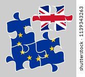 brexit the removed piece in a...   Shutterstock . vector #1139343263