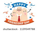 happy frienship day with cute... | Shutterstock .eps vector #1139349788