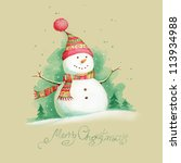 painted christmas background... | Shutterstock . vector #113934988