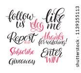 set of phrases for social media.... | Shutterstock .eps vector #1139355113