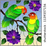 illustration in stained glass... | Shutterstock .eps vector #1139357156