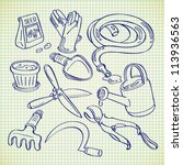 gardening tools in doodle style | Shutterstock .eps vector #113936563