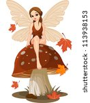autumn fairy sitting on... | Shutterstock .eps vector #113938153