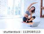 online training. delighted... | Shutterstock . vector #1139385113