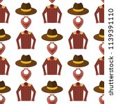 Wild west cowboy cloth rodeo equipment different accessories seamless pattern background vector illustration.