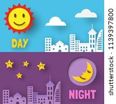 day and night paper cut  vector ... | Shutterstock .eps vector #1139397800