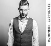 handsome young elegant man in... | Shutterstock . vector #1139407856