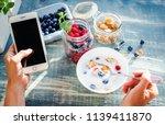 healthy breakfast and social... | Shutterstock . vector #1139411870