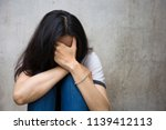 panic attacks young girl in sad ... | Shutterstock . vector #1139412113