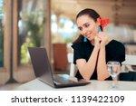 woman trying online internet... | Shutterstock . vector #1139422109