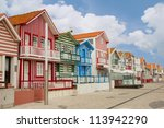 street with typical striped... | Shutterstock . vector #113942290