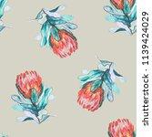 protea flowers watercolor... | Shutterstock . vector #1139424029