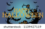 happy halloween banner or... | Shutterstock .eps vector #1139427119
