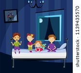 children at night in the room... | Shutterstock .eps vector #1139435570