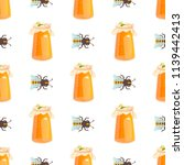 honey jar seamless pattern with ... | Shutterstock .eps vector #1139442413