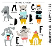 cute vector zoo alphabet poster ... | Shutterstock .eps vector #1139443436