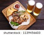 beer snacks  meat plate.... | Shutterstock . vector #1139456603