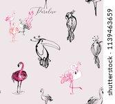 line drawing sketch parrot ... | Shutterstock .eps vector #1139463659