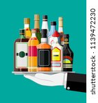 alcohol drinks collection in... | Shutterstock . vector #1139472230