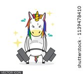 funny unicorn drawing lifting... | Shutterstock .eps vector #1139478410