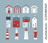 seaside set with beach huts ... | Shutterstock .eps vector #1139480369