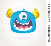 cute cartoon monster  with... | Shutterstock .eps vector #1139487563