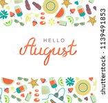 hand drawn hello august... | Shutterstock .eps vector #1139491853