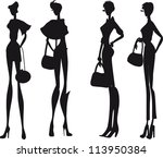 silhouette fashion girls | Shutterstock .eps vector #113950384
