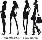 silhouette fashion girls | Shutterstock .eps vector #113950396