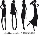 silhouette fashion girls | Shutterstock .eps vector #113950408