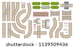Vector set. Railroad and railway tracks construction elements. Top view. Rails, tunnels, bridges, wagons and elements. View from above.