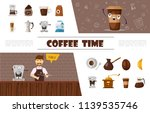 flat coffee elements collection ... | Shutterstock .eps vector #1139535746