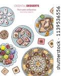 arabic food. oriental sweets... | Shutterstock .eps vector #1139536556