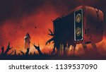 young woman standing among evil ... | Shutterstock . vector #1139537090