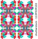 tropical pattern with hibiscus... | Shutterstock . vector #1139539103