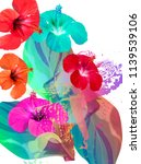 tropical pattern with hibiscus... | Shutterstock . vector #1139539106