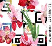 red orchid vanda flower. floral ... | Shutterstock . vector #1139556476