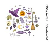 set for halloween  in cartoon... | Shutterstock .eps vector #1139569568