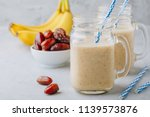 banana and date fruit smoothie... | Shutterstock . vector #1139573876