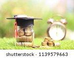graduation hat on the glass...   Shutterstock . vector #1139579663