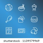 cuisine icon set and grill with ...
