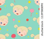 seamless pattern with little... | Shutterstock .eps vector #1139580890