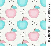 seamless pattern with apples.... | Shutterstock .eps vector #1139580896