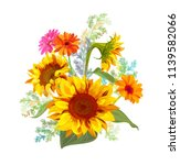 bouquet autumn flowers  yellow... | Shutterstock .eps vector #1139582066